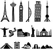 Clipart of Seven Wonders of the World in Heart k17906222.