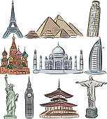 Clipart of Architectural wonders of the world vector collection.