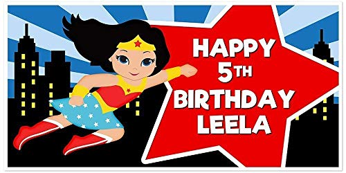Super Girl Wonder Woman Superhero Light Skin Birthday Banner Red and Blue  Party Backdrop Decoration.