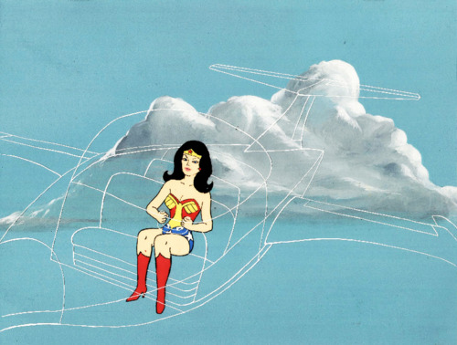 Wonder Woman in her invisible jet on Super Friends.