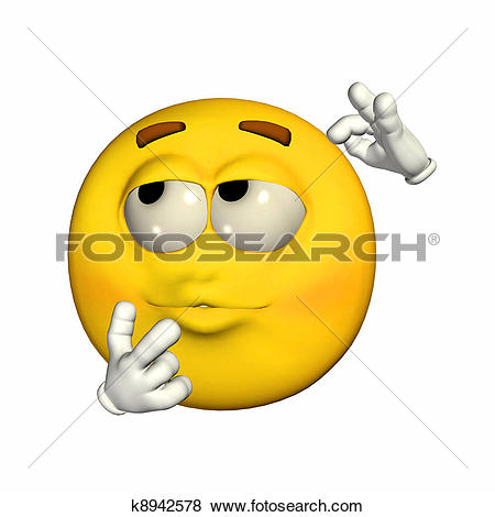 Clip Art of 3D man wondering in front of an question mark k2148692.