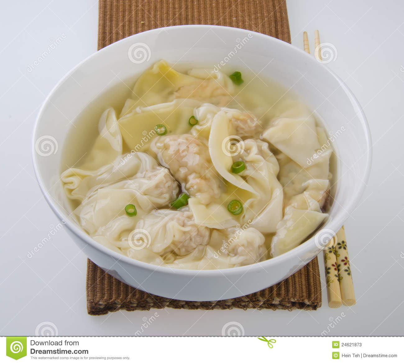 Wonton Soup Stock Photo.