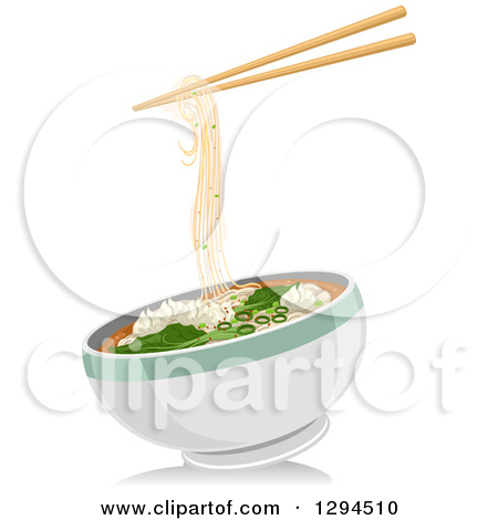 Clipart of a Pair of Chopsticks with Wonton Noodles over a Bowl.