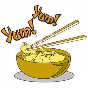 with a Bowl of Won Ton Soup Clipart Image.