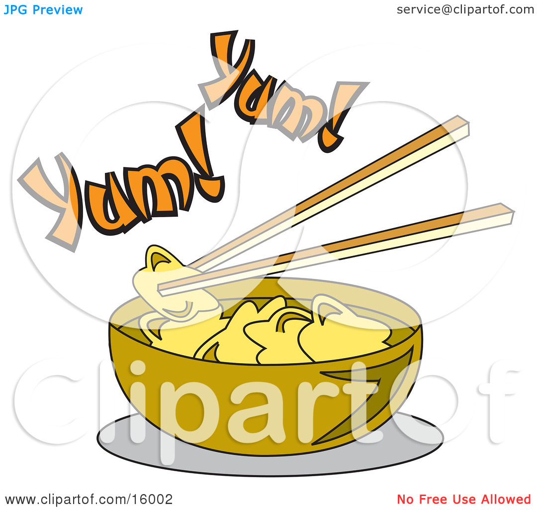 Chopsticks Lifting Food Out Of A Bowl Of Won Ton Soup Clipart.