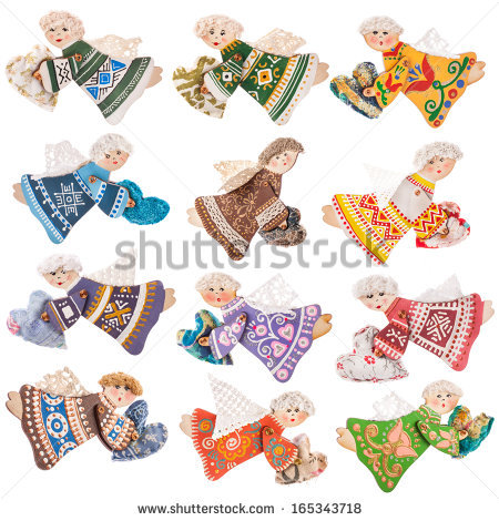 Collection Of Handmade Decoration Wooden Angels,The Toy Is Made.
