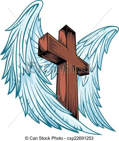 Clipart Vector of Angel wings with wooden cross. Vector.