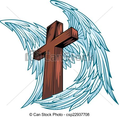 Vector Clipart of Angel wings with wooden cross. Vector.