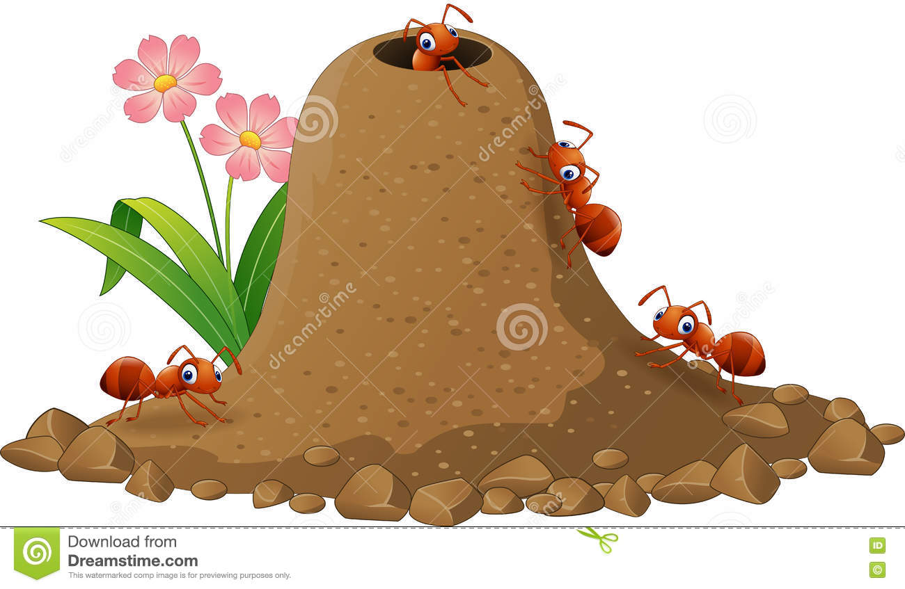 Cartoon Ants Colony And Ant Hill Stock Vector.
