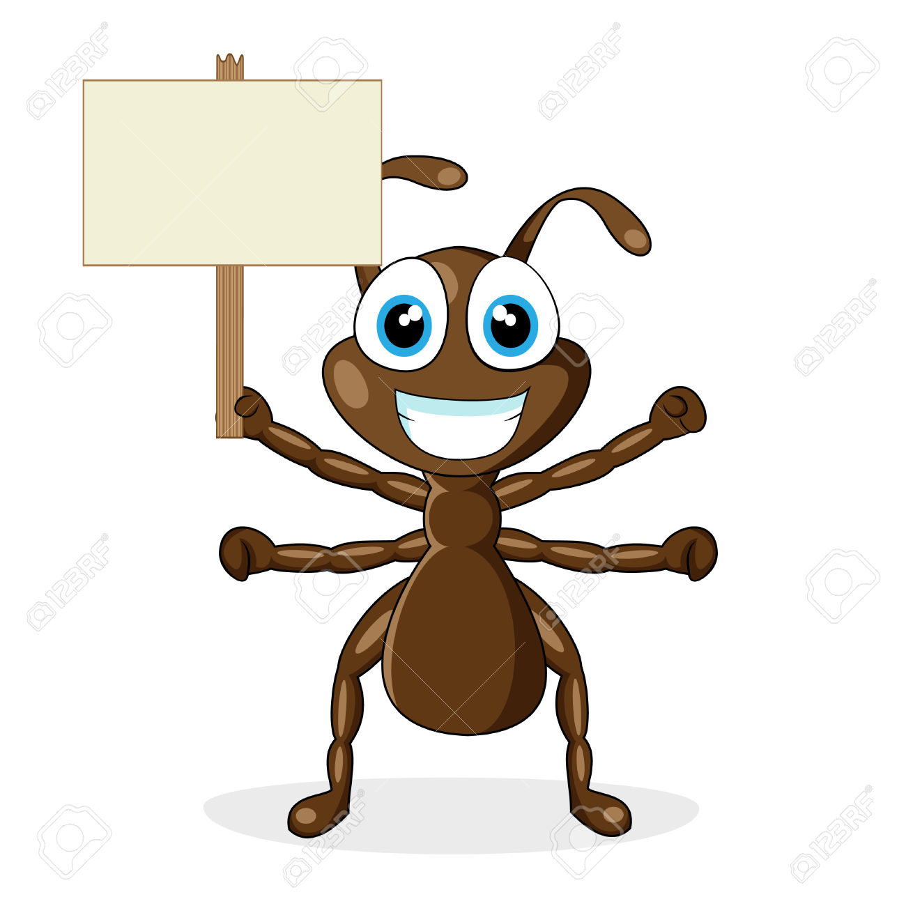 Cute Little Brown Ant With Wood Sign Royalty Free Cliparts.