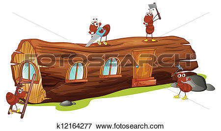 Clip Art of Ants and a wood house k12164277.
