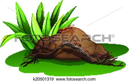 Clip Art of A rock near the grass with a wood and ants k20501319.