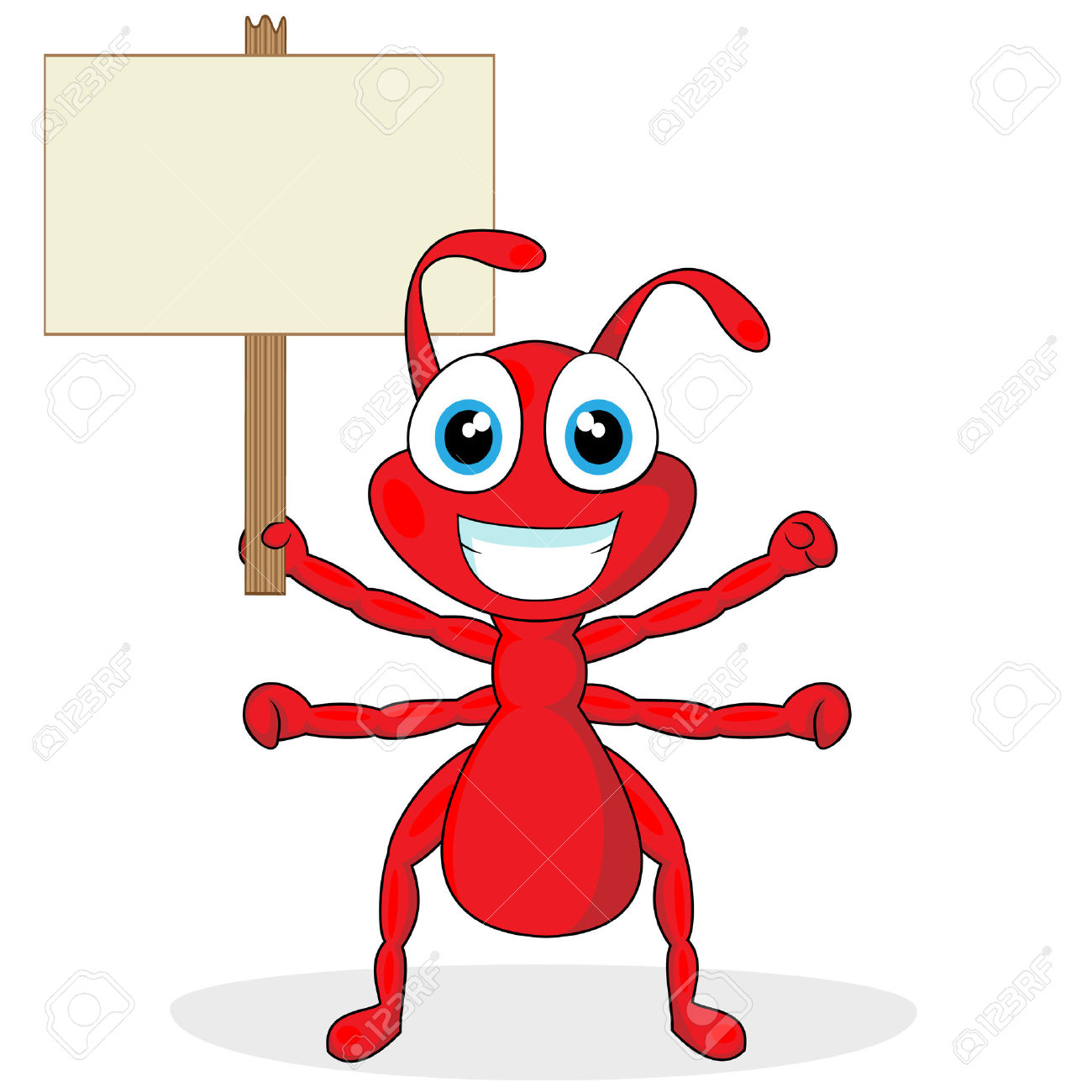 Cute Little Red Ant With Wood Sign Royalty Free Cliparts, Vectors.