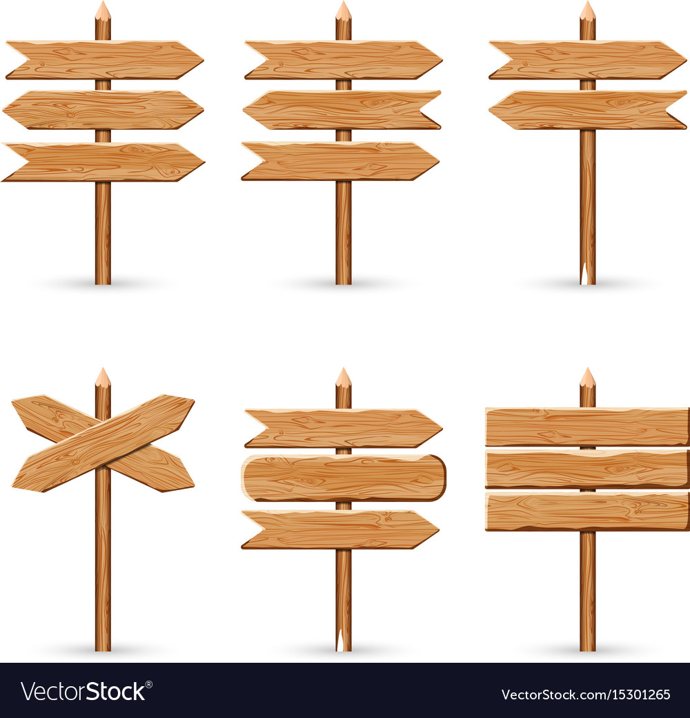 Wooden arrow signs board set wood.