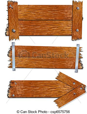 Clip Art Vector of Wood Sign.