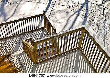 Picture of Wood Deck in Winter k4641757.