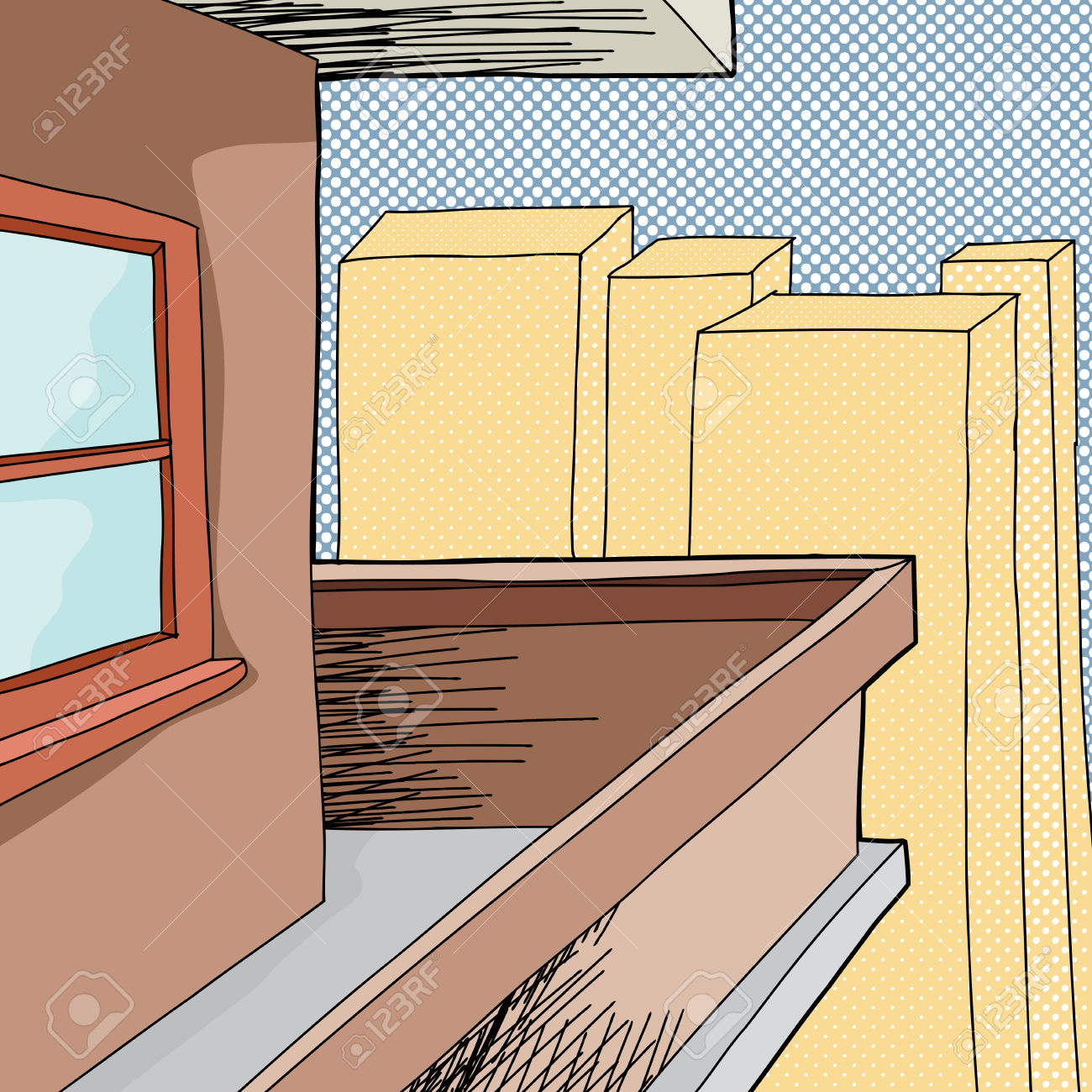 Cartoon Balcony On Apartment With Halftone Background Royalty Free.