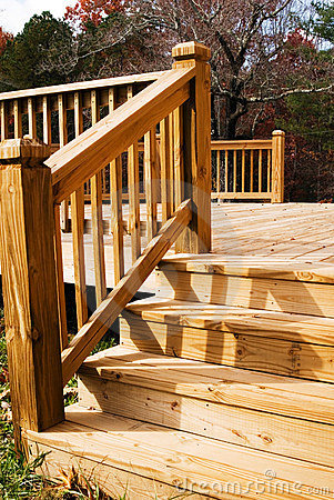 Exterior Wooden Deck Wood Outdoor Patio Garden Terrace Stock Photo.