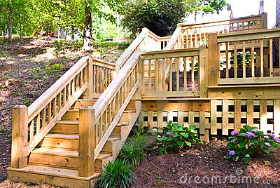 Wood Deck Steps Stock Image.