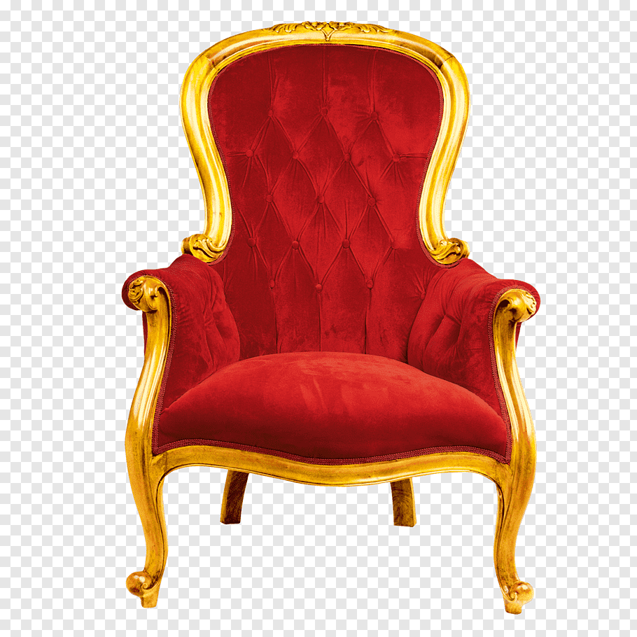 Red armchair with wooden base illustration, Chair Throne.