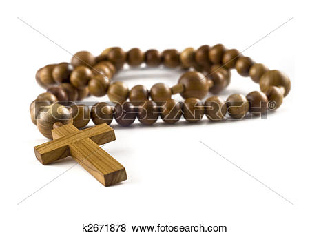 Pictures of Closeup of Wooden beads isolated over white k2671878.