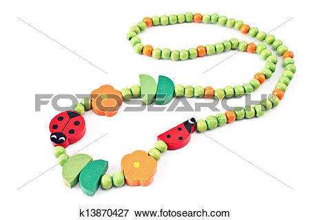 Picture of Wooden beads necklace with ladybug k13870427.