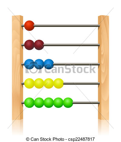 Vector Clip Art of Abacus with colorful wooden beads in front of.