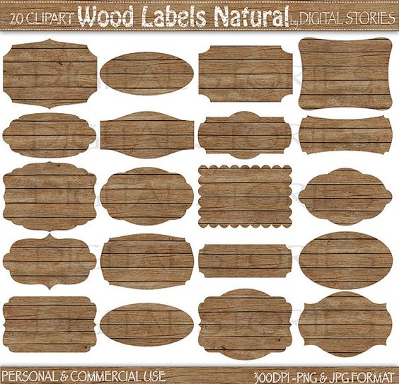 "Wood Frames Clipart: ""WOOD LABELS NATURAL"" wooden tags for cards."