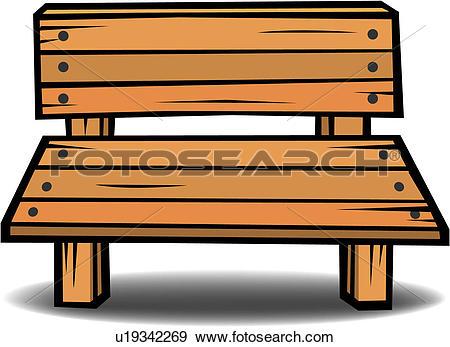 Clip Art of furniture, wooden, seat, item, object, park u19342269.