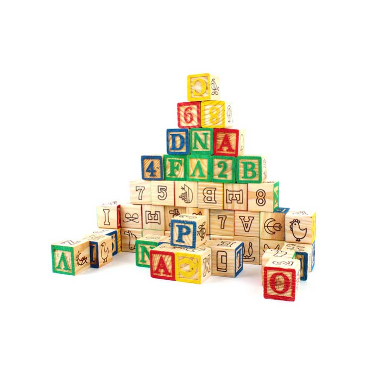Educational Materials China Color Alphabet Number Wood Blocks Set Letters  And Animal Printing Wood Cube Blocks For Children.