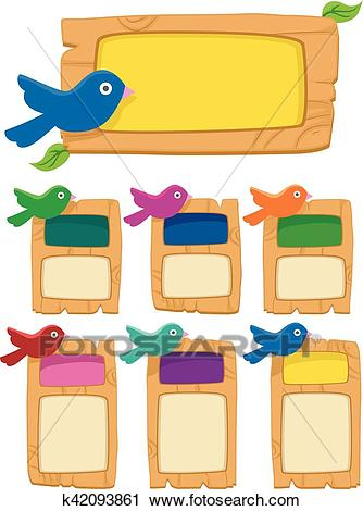 Birds Wood Bulletin Board Clipart.
