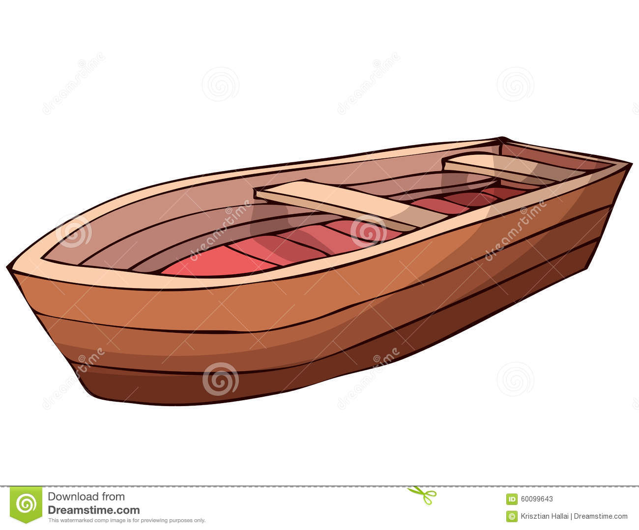 Wooden Boat. Stock Vector.