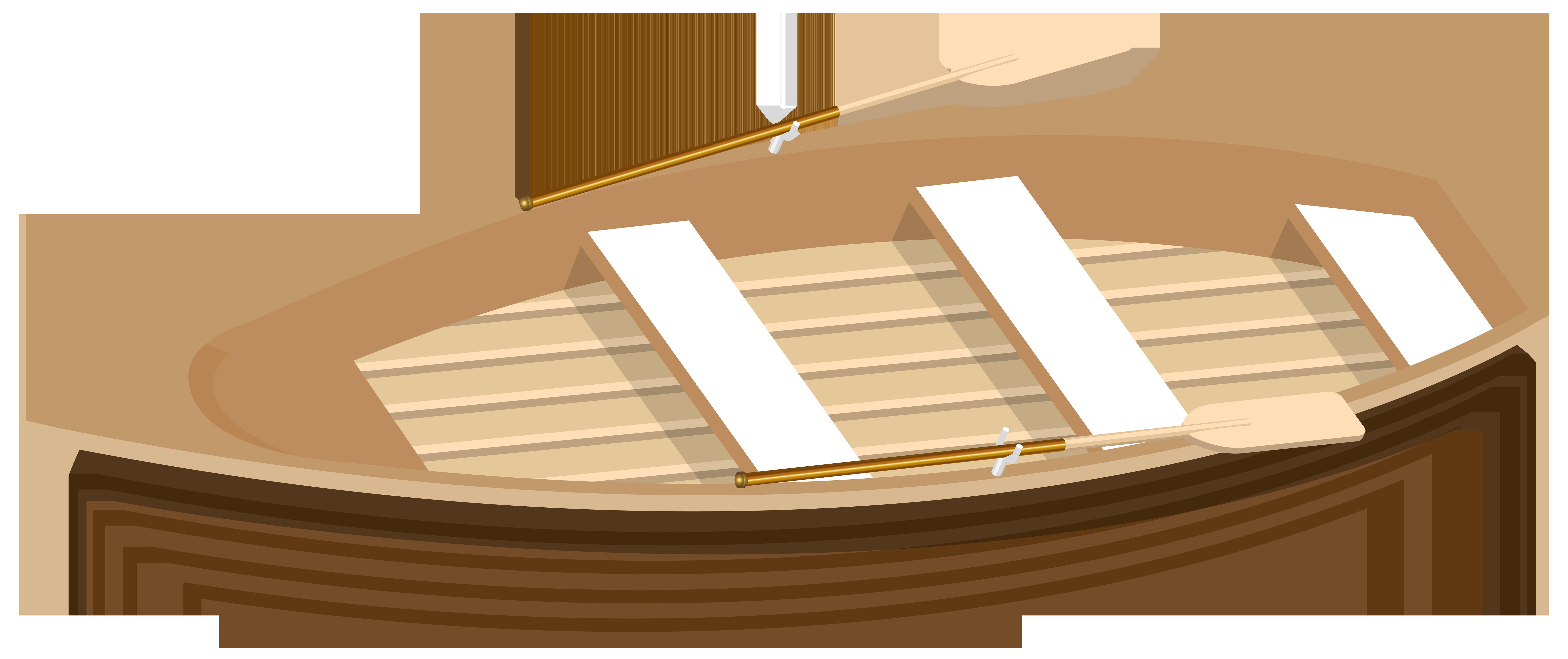 Wooden Boat Transparent PNG Clip Art Image.