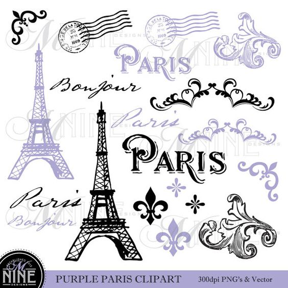 Paris Clip Art: PURPLE PARIS Theme Clipart Vintage Paris Clipart.