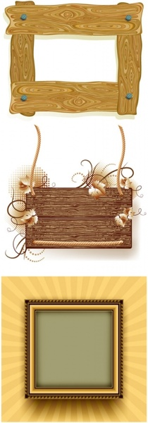 3 wood frame border clip art Free vector in Encapsulated.