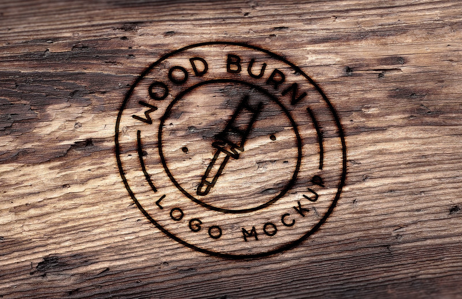 Wood Burn Logo Mockup.