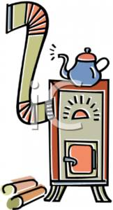 Fashioned Wood Burning Stove Clipart Picture.
