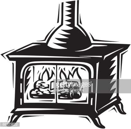 Wood Burning Stove The Oldfashioned Way A True Antique Vector Art.