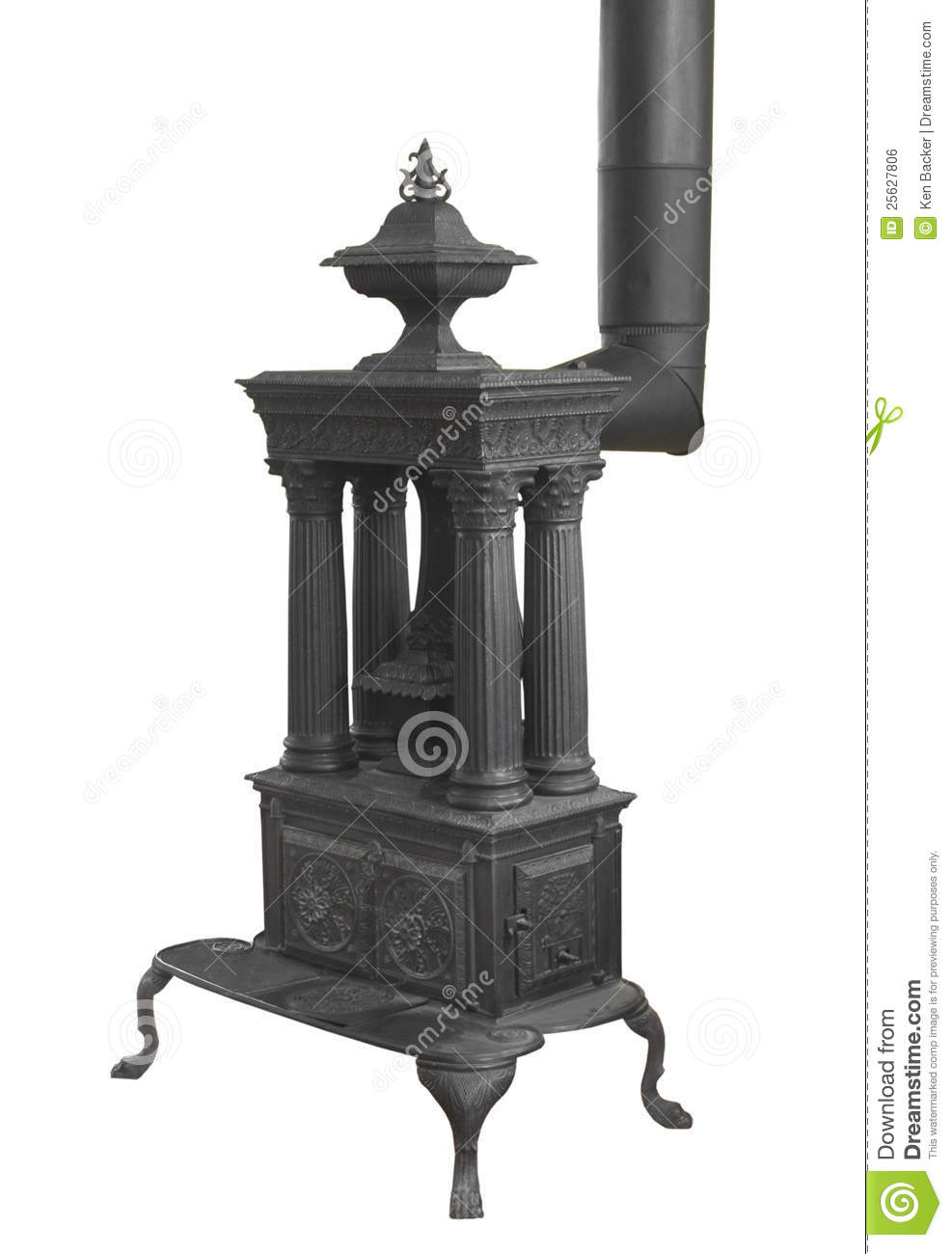Old Wood Burning Heater Stove Isolated Royalty Free Stock Image.