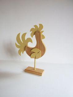 Gallo de madera Folk Art Suecia // Pájaro años 70.