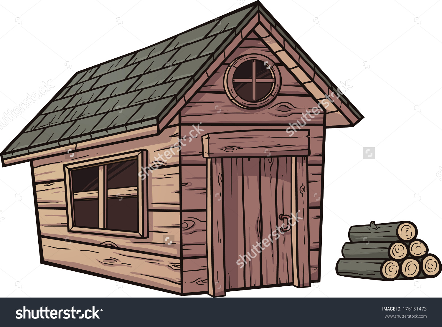 Cartoon Wooden Cabin Vector Clip Art Stock Vector 176151473.
