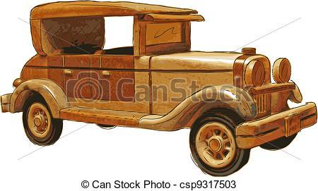Vectors of wood toy car.