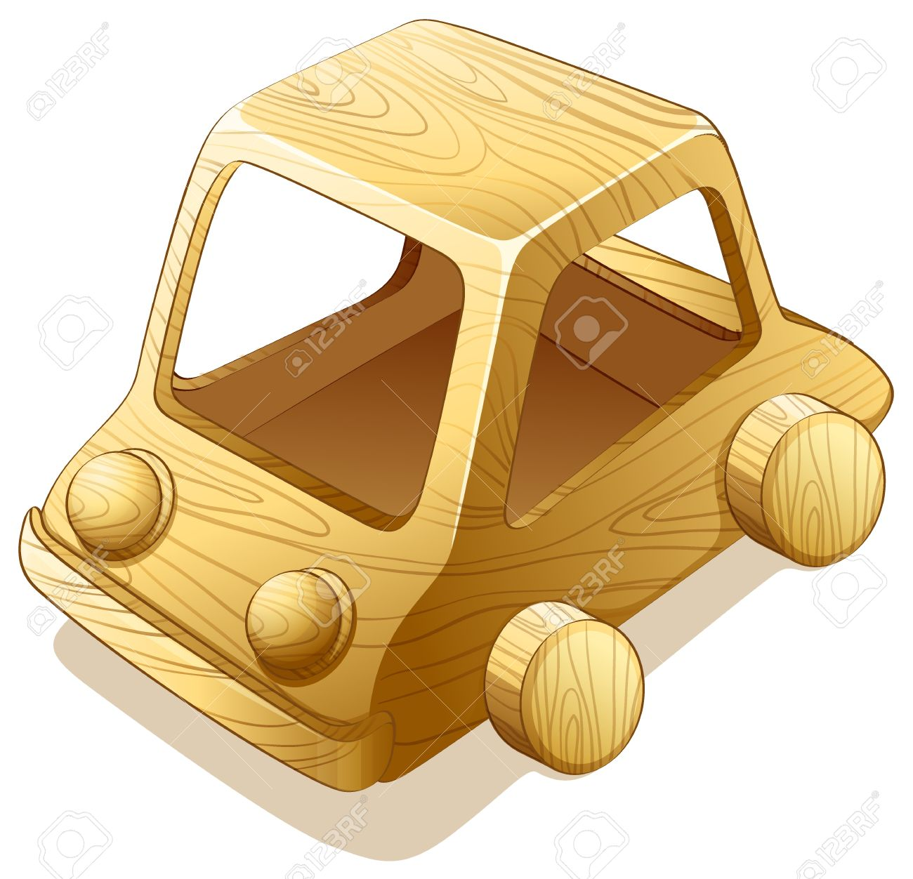 Illustration Of A Toy Wooden Car Royalty Free Cliparts, Vectors.
