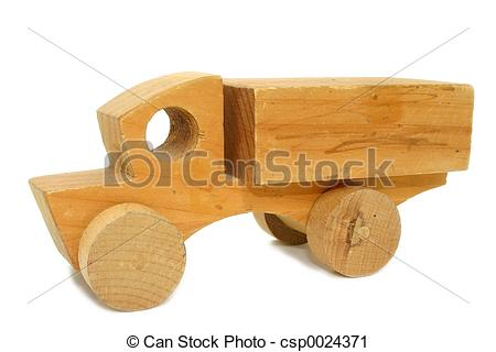 Stock Photography of Antique Wooden Toy Car.