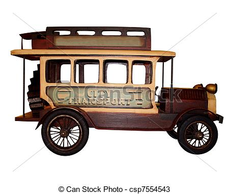 Drawings of Antique Model car wood isolated on white, collectible.