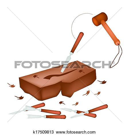 Clipart of Carving Tools Making Sculpture From A Wood k17509813.