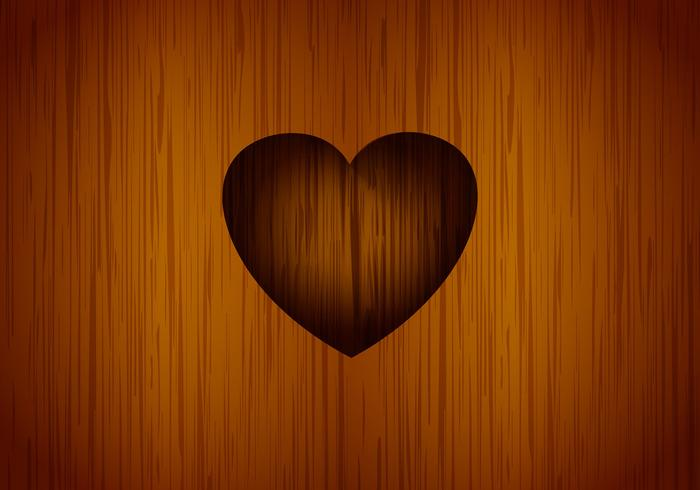 Heart carved tree vector background.