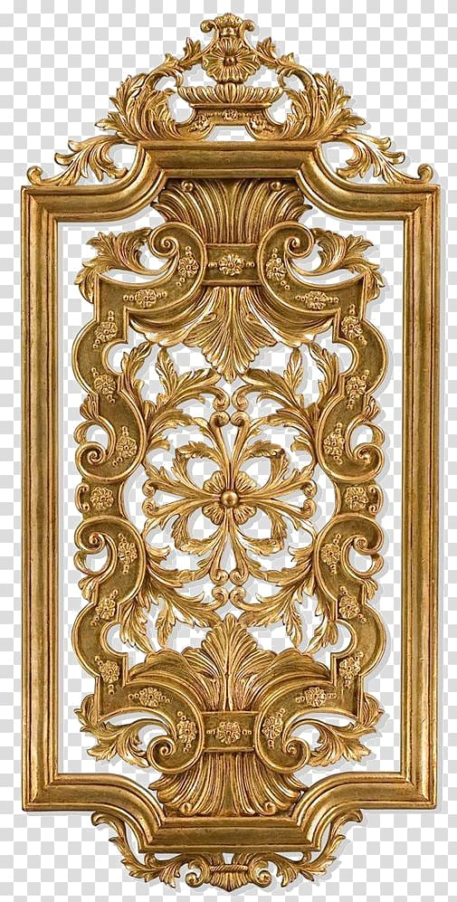Rectangular gold frame , Wood carving Wall panel Panel.