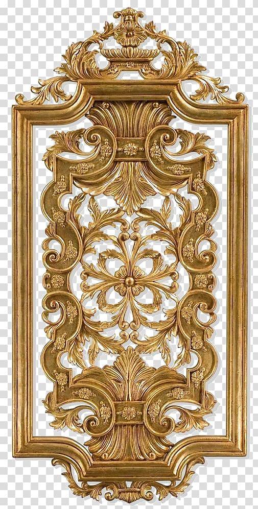 Rectangular gold frame , Wood carving Wall panel Panel.