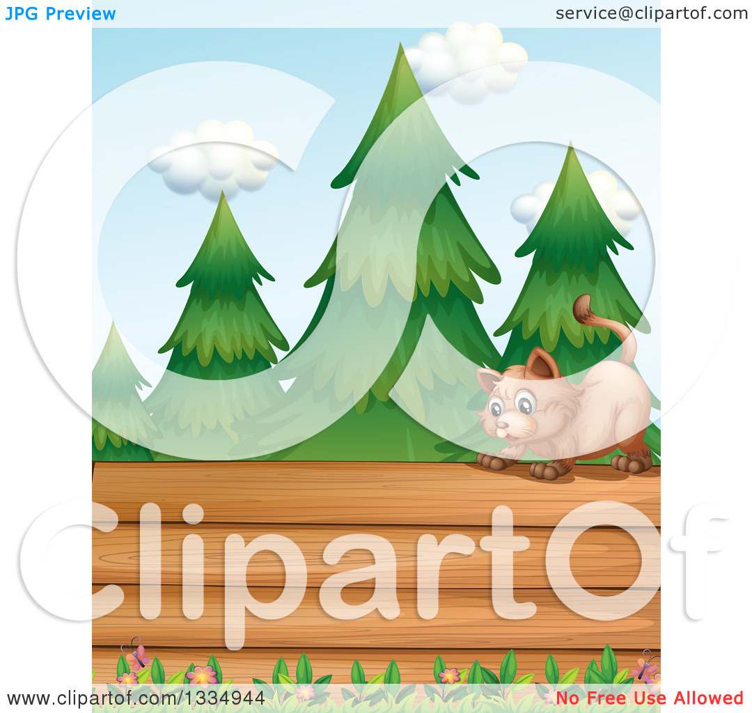 Clipart of a Cat on Top of a Blank Wood Sign, with Flowers and.